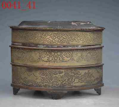 old Chinese pure copper auspicious lucky Jewelry Box boxes