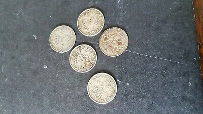 5 silver 3 pence coins george v 2 x1912 1x1913 and 2 x1919
