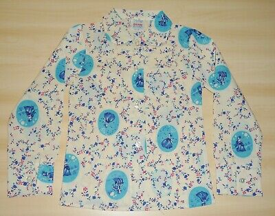 VINTAGE 1970s GIRLS BLUE & IVORY PETER PAN COLLAR PICTURE BLOUSE AGE 4 - 9 YEARS