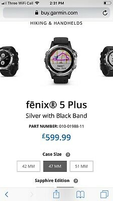 Garmin Fenix 5 Plus With 47 Mm Silver Case And Black Band GPS Multisport Watch