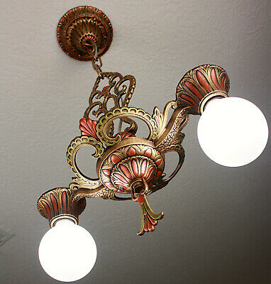 30's Antique Vintage VIrden Ceiling Light FIxture CHANDELIER