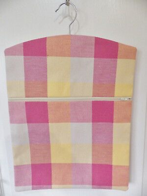 """Hand Made Peg/Hanging Storage Bag Lined/Zipped 12½"""" x 16"""" Bright Check"""