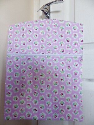 """Hand Made Peg / Hanging Storage Bag Lined/Zipped 12½""""x16"""" DAINTY FLOWERS P. PINK"""