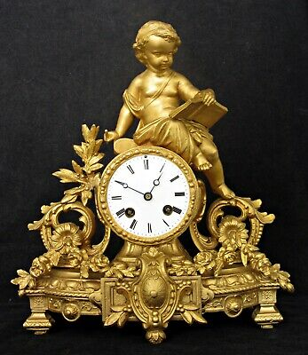 Superb Antique French Gilt Mantel Clock By Vincenti, Child Reading Book, Figural