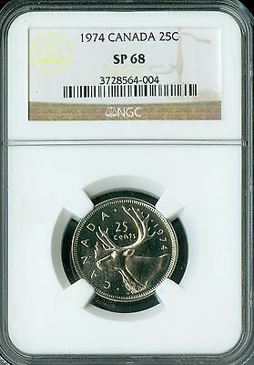 1974 Canada 25 Cents Ngc Sp-68 2Nd Finest Registry Spotless *