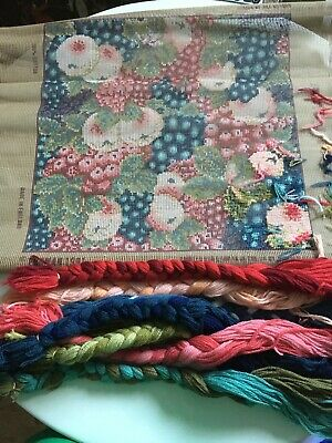 VINTAGE 1991 Ehrman Tapestry Kit Russian Fruits Large Cushion Front . Started