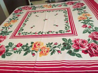 """Vintage Tablecloth With Red & Yellow Roses 48"""" x 48"""" Very Bright No holes"""