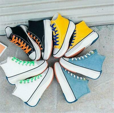 Chic Women Lace Up Hi Top Canvas Sneakers Flat Platform Creeper Oxfords Punk New