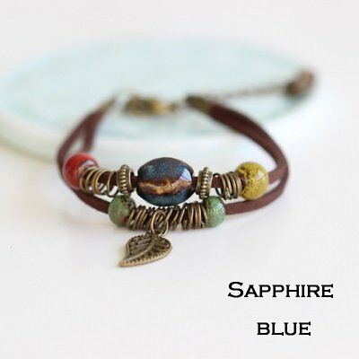 Women Adjustable Colorful Cowhide Rope Leaf Ceramics Beads Bracelet Jewelry Gift