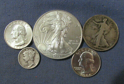 Mixed Lot Of 5 Us Silver Coins 2013 Eagle Silver Dollar 1935 Liberty Half Etc