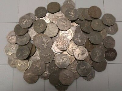 Lot of 64 Great Britain 50 pence coins, 1969-2011