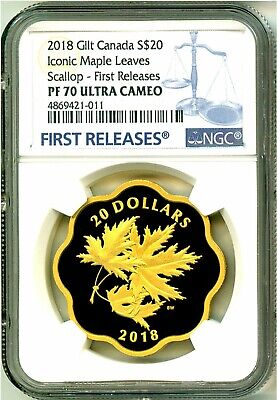 2018 Canada S$20 Gold Gilt Iconic Maple Leaves Scallop Masters Club NGC PF70 UC