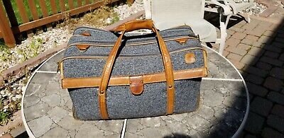 Vintage HARTMANN LUGGAGE Tweed 747 OVER SUIT-O-MATIC Belting Leather Trim