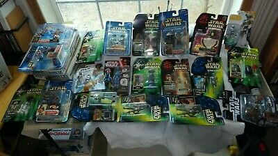 20 MIP Modern Star Wars figures 1996-2018 Droids, Chewbacca, Darth Maul, M Windu