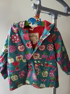 Hatley Apples Hooded Lined Raincoat Mac Girls Infant Age 18 M  Months Jacket