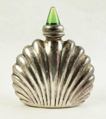 Vintage Mexico Ormex Sterling Silver Green Glass Top Perfume Bottle