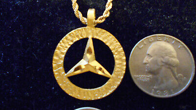 bling gold plated mercedes benz car auto pendant charm hip hop necklace jewelry