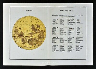 1942 Moon Map Astronomy Chart Lunar Surface Craters from Schurigs Himmel Atlas