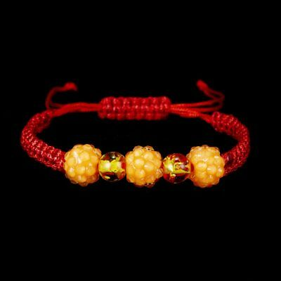 Simple Handmade Adjustable Crystal Bead Braided Bracelet Red Lucky String Women