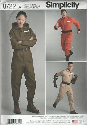 Simplicity Sewing Pattern 8722 Adult Aviator Flight Coverall Costumes Sz XS-XL