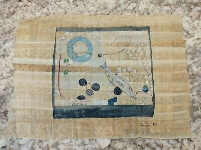 Vintage Egyptian Painting on Papyrus Trout Fish Water Unusual Dr Ragab 1983