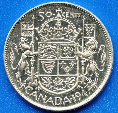 "Canada 1947 ""Straight 7 Narrow Date"" Silver 50 Cents 11.66 Grams .800 High Grade"
