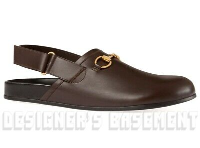 d807cccea GUCCI men 11G* brown back-strap RIVER leather HORSEBIT Clogs shoes NIB Auth  $680