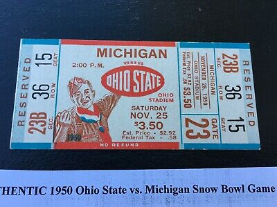 PAIR TWO 1950 OHIO STATE VS. michigan 2 FULL SNOW BOWL FOOTBALL GAME TICKETS MT