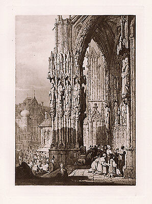 """Sameul Prout 1800s SIGNED Antique Print """"Porch of Ratisbon Cathedral"""" FRAMED COA"""