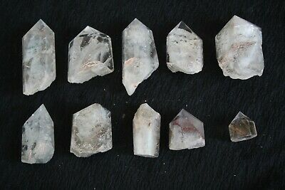 10 NATURAL WHITE ghost Phantom CRYSTAL Polished point specimen A25 249g