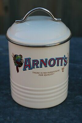 Collectable Arnotts Famous Biscuit Enamelled Tin / Caddy