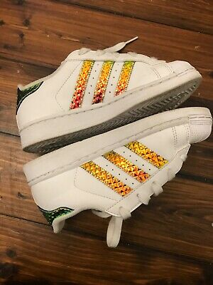 Adidas all star kids sneakers gold stripe preloved us 13k great condition