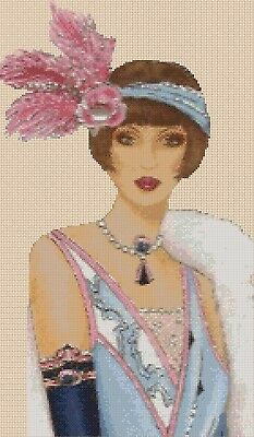 Cross stitch chart  Art Deco Lady 302 Flowerpower37-uk.-.free uk P/&p...