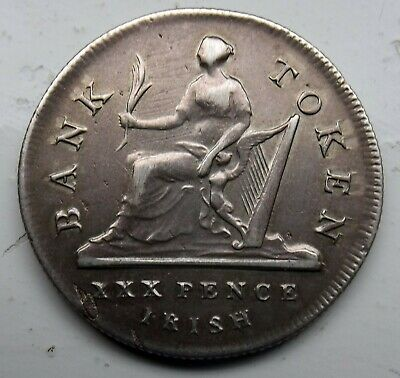 Good Grade Ireland 1808 George Iii Silver Thirty Pence Bank Token
