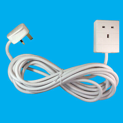 2x 10m White 1 Way Extension Lead Cable 13A 3 Pin UK Socket