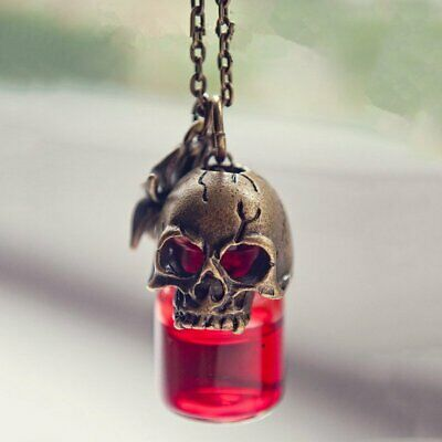 Fashion Punk Skull Vampire Blood Bottle Pendant Vial Necklace Cosplay Costumes