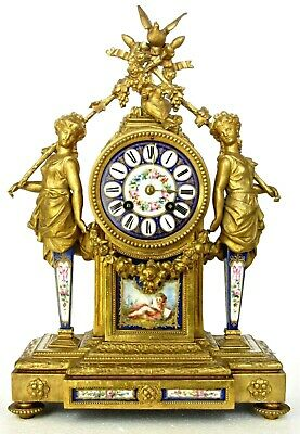 Rare Antique P.h.mourey French Ormolu Mantel Clock, Caryatids, Porcelain Plaques