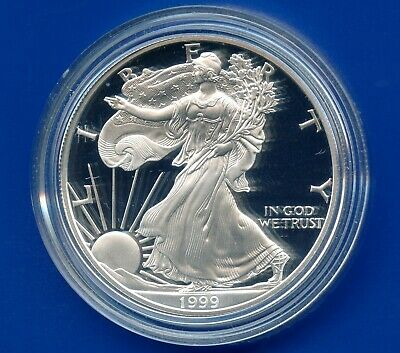1999 'P' United States Eagle Proof Dollar 1 Oz Silver Coin In Capsule