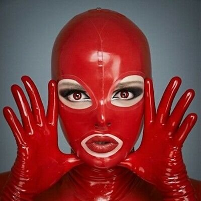 Latex Catsuit Gummi Rubber Bassic Red Unisex Hoods Club Wear Mask Customize .4mm