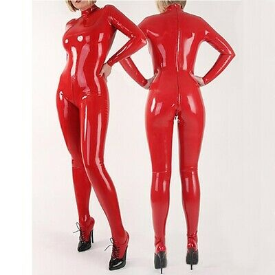 Latex Catsuit Rubber Gummi Sexy Bassic Two Way Zipper Jumpsuit Customized 0.4MM