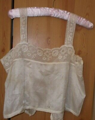Antique Vintage Edwardian Silk & Lace Bodice  Camisole Chemise Top