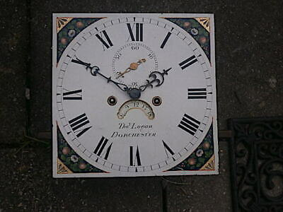 C1840  8 day LONGCASE GRANDFATHER CLOCK DIAL+movement 12X 12   Thos. Logan Dorch