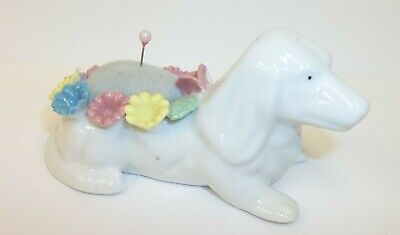 Vintage White Dog Sewing Pin Cushion with Ring of Colored Flowers