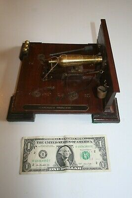 19th Century French Caronade Brass Cannon scale model on wooden base