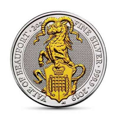 2 OZ Silber UK 2019 The Queen´s Beasts Yale of Beaufort gilded