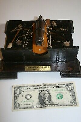 18th Century English Carronade Bronze Naval Cannon scale model on wooden base