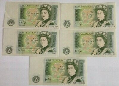 ? Five Uncirculated Bank Of England One Pound Banknotes With Consecutive Numbers