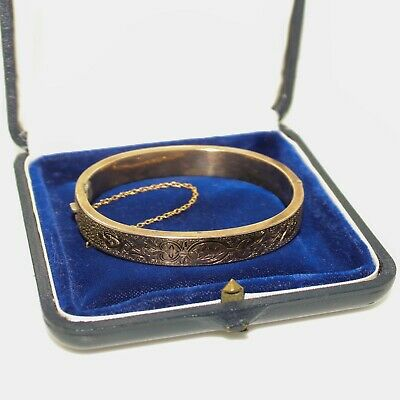 Antique Vintage Art Nouveau 14k Rose Gold Etruscan Wedding Bangle Bracelet