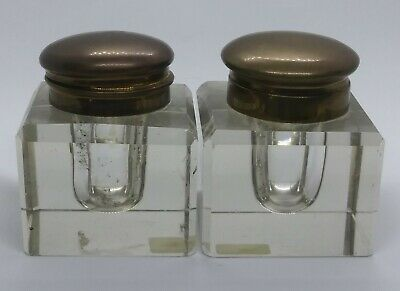 Vintage Antique Pair Inkwell Hinged Brass Flip Top Lid Round Clear Glass