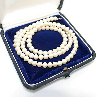 Antique Vintage Art Deco Retro 14k Yellow Gold Cultured Pearl Bead Necklace